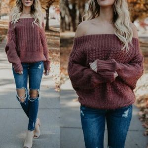 Sweaters - Fuzzy Off Shoulder Top